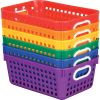 27-Slot Mail And Supplies Center With 6 Cubbies And Baskets - 6 Colors