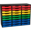 Black 27-Slot Mail Center With Trays - 4-Color Grouping