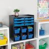 Black 6 Slot Mail And Supplies Center With 6 Trays 6 Cubbies And 6 Bins Single Color   Blue