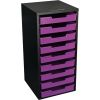 Black 9 Slot Mail Center With Trays Single Color   Purple