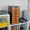 Black 9 Slot Mail Center With Trays Single Color   Red