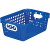 Black 27 Slot Mail And Supplies Center With 6 Cubbies And Baskets Single Color   Blue
