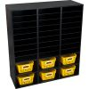 Black 27-Slot Mail And Supplies Center With 6 Cubbies And Baskets Single Color
