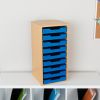 Oak 9 Slot Mail Center With Trays Single Color   Blue