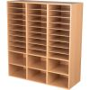 Oak 27-Slot Mail And Supplies Center With 27 Trays, 6 Cubbies, And Baskets  Single Color - 1 mail center, 27 trays, 6 baskets