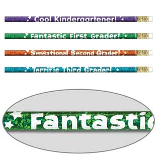 Grade-Specific Welcome Pencils - 12 Pencils for K, 1st, 2nd or 3rd Grade