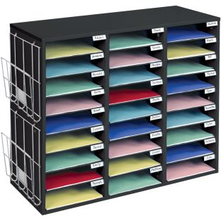 Mail Center with Wire Paper Holders- 1 Classroom Mail Center with 27 Slots – Keep your Classroom, Office, or Home Office Organized, Durable, Easy Assembly