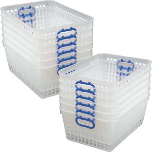 Book Baskets, Large Rectangle Clear - 12 baskets