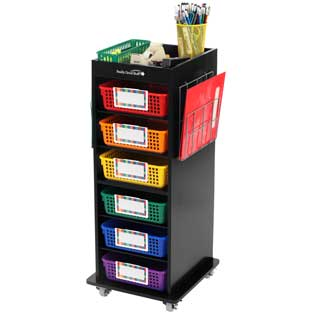 Store More® Multi-Use Rolling Organizer With Baskets And Two Wire Works™ Paper Holders
