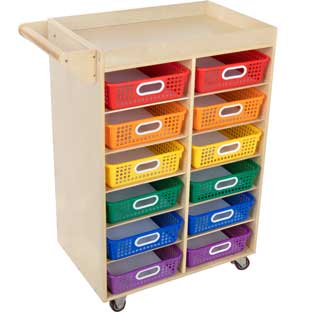 Rolling Organizer With Magnetic Dry Erase Board And Baskets - 1 organizer