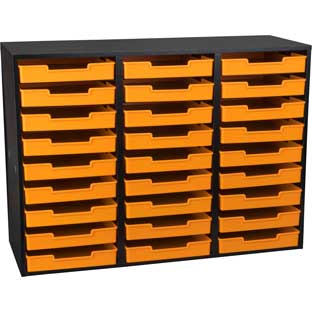 Black 27-Slot Mail Center With Trays - Single Color - 1 mail center, 27 trays