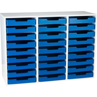 White 27-Slot Mail Center With Trays - Single Color - 1 mail center, 27 trays