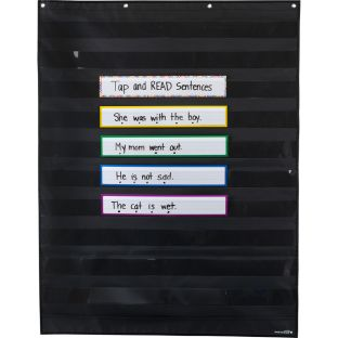 Programmable Pocket Chart and Cards  Rainbow  Large Black - 1 pocket chart, 36 cards