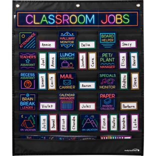 Classroom Jobs Pocket Chart and Cards  Neon
