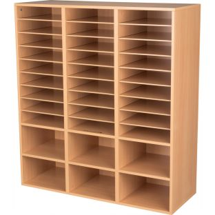 27-Slot Mail And Supplies Center With 6 Cubbies