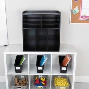 6-Slot Mail And Supplies Center With 6 Cubbies