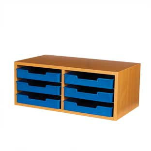 Oak 6-Slot Mail Center With Trays  Single Color - 1 mail center, 6 trays, 6 labels