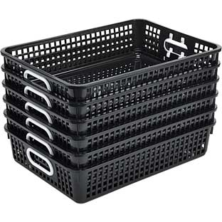 Single-Color Plastic Baskets  Set Of 6