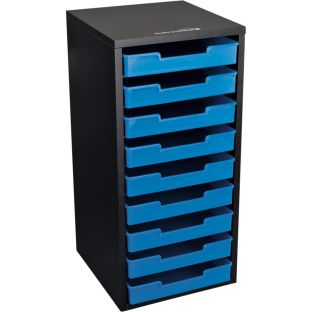 Black 9-Slot Mail Center With Trays  Single Color - 1 mail center, 9 trays, 12 labels