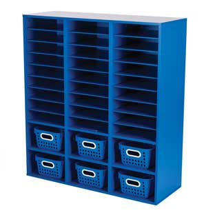 Blue 27-Slot Mail And Supplies Center With 6 Cubbies And Baskets  Single Color
