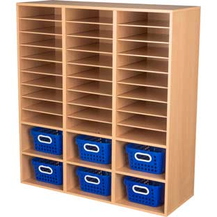 Oak 27-Slot Mail And Supplies Center With 6 Cubbies And Baskets  Single Color