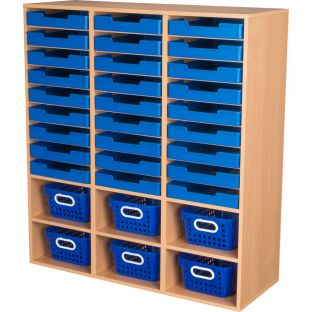 Oak 27-Slot Mail And Supplies Center With 27 Trays, 6 Cubbies, And Baskets  Single Color