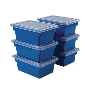 Small All-Purpose Bins And Lids - Set of 12 - Single Color Blue