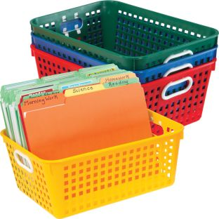 Book Baskets, Large Rectangle - Primary Colors - 4 baskets