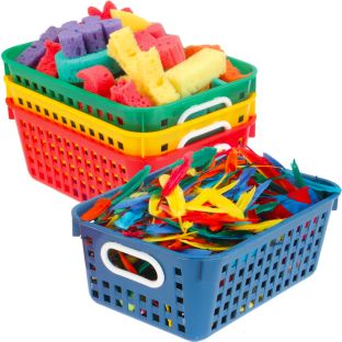 Book Baskets, Medium Rectangle - Primary Colors - 4 baskets