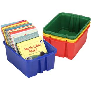 Classroom Stacking Bins - Primary Colors - 4 bins