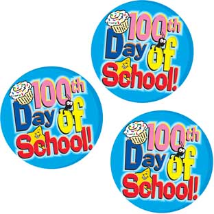 100th Day Of School Stickers - set of 36.