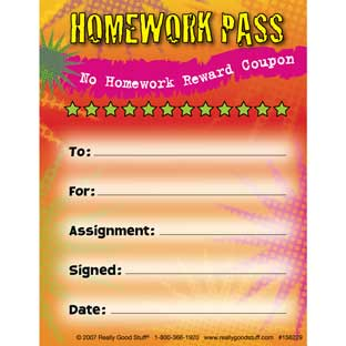 No Homework Reward Pad