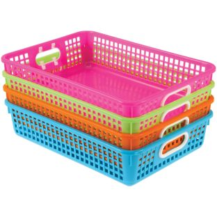 Classroom Paper Baskets - Neon Colors - 4 baskets