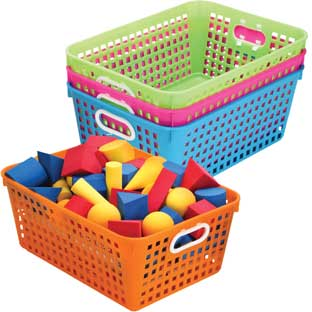 Book Baskets, Large Rectangle - Neon Colors - 4 baskets