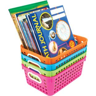 Book Baskets, Medium Rectangle -Neon Colors - 4 baskets