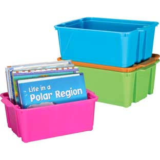 Stackable Plastic Book and Organizer Bins for Classroom or Home Use – Sturdy Plastic Baskets in Fun Neon Colors - Set of 4