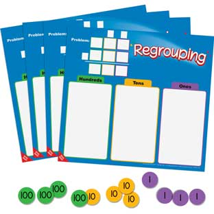 Regrouping Mats And Manipulatives Kit - 4 mats and 216 chips