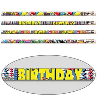 Happy Birthday Glitter Pencils - 12 pencils