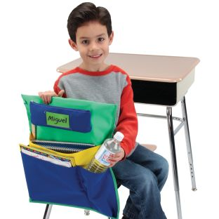 Deluxe Multi-Pocket Chair Pockets with Pencil Case and Water Bottle Holder – 6 Pack – Green/Blue