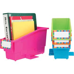 Durable Book And Binder Holder With Stabilizer Wing and Label Holder™ - Neon - 4 bins, 8 labels