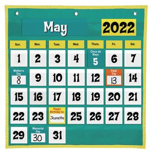 Space-Saver Calendar Pocket Chart™ - 1 pocket chart, 64 cards