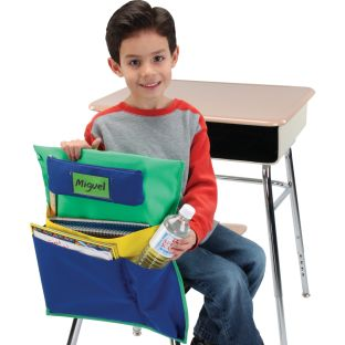 Deluxe Multi-Pocket Chair Pockets with Pencil Case and Water Bottle Holder – 150 Pack – Green/Blue