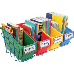 Durable Book and Binder Holders With Stabilizer Wing Storage Rack - Primary - 1 rack, 4 bins, 8 labels