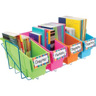 Durable Book And Binder Holders With Stabilizer Wing Storage Rack - Neon - 1 rack, 4 bins, 8 labels