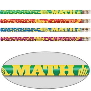 Mega Math Assorted Pencils - 12 pencils