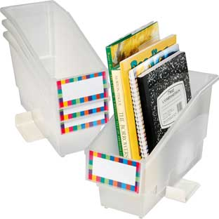 Durable Book And Binder Holder With Stabilizer Wing and Label Holder™ - Clear - 4 bins, 8 labels