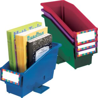 Durable Book And Binder Holder With Stabilizer Wing and Label Holder™ - Royal - 4 bins, 8 labels