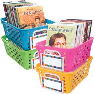 Book Baskets, Medium Rectangle With Label Holders - Neon - 4 baskets, 4 label holders, 8 labels