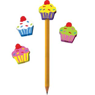 Cupcake Pencil Topper Erasers - 12 erasers