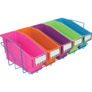 Store More® Durable Book And Binder Holder With Stabilizer Wing And Storage Rack - 5-Pack, Neon